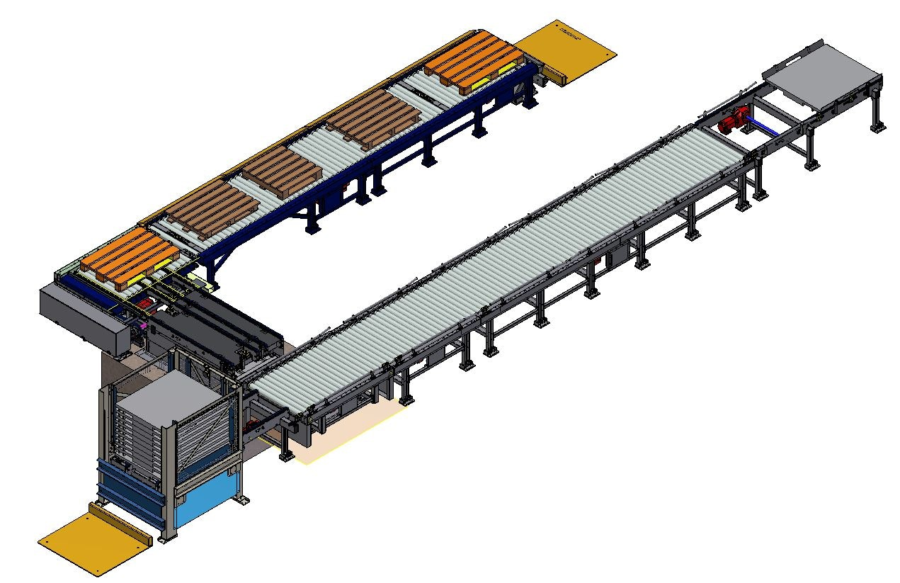 3d-model Palletizing line (U-shaped) without gantry: In the bottom right area there is a chain conveyor on which the portal places the full special pallets. Afterwards there is a roller conveyor for the transport of the special pallets. The bricks are stacked on a sales pallet. The empty special pallet is transported into the pallet magazine (below in the picture) at the push of a button. The loaded sales pallet is then transported to the right angle station. The right angle station transports the sales pallet turned by 90° to the discharge section.