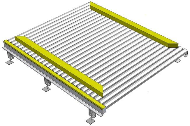 3D-Darstellung eines Palettenausrichters: Rollenbahn mit Palettenausrichter (Schieber)