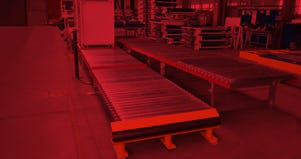 Roller Conveyors (one of that with crash protection) and plastic chain are stacked on top of each other