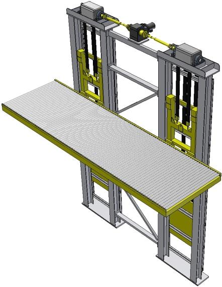 3D model heavy vertical lifter, deck design: roller conveyor